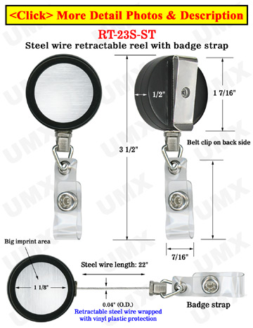 Durable Steel Cable Badge Reels With Badge Straps
