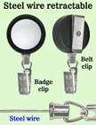 Durable Steel Cable Name Badge Reels With Metal Badge Clips RT-23S-BC/Per-Piece