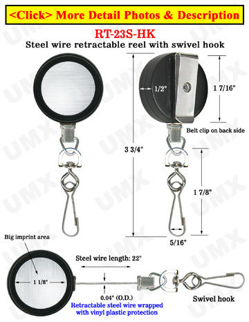 Durable Steel Cable Reels With Retractable Swivel Hooks