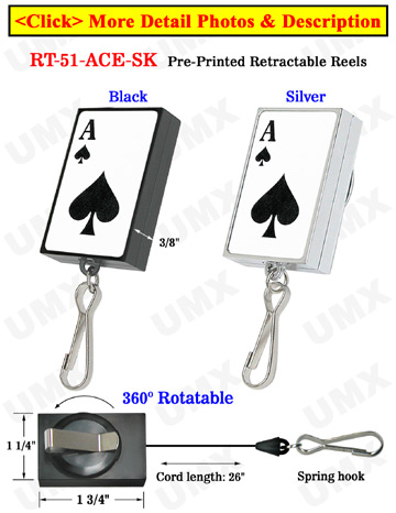 Pre-Printed Retractable ID Card Holders: Poker ACE Printed