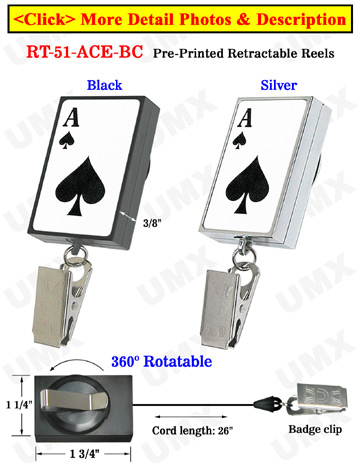 Casino Retractable Name Badge Reels: Poker ACE Printed