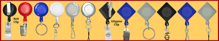 Most pouplar Badge Reels For Retractable Name Badges, ID Cards, Keys, Nametags or Bag Tags